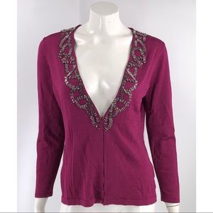 Jones New York Cardigan Size Medium Petite Purple